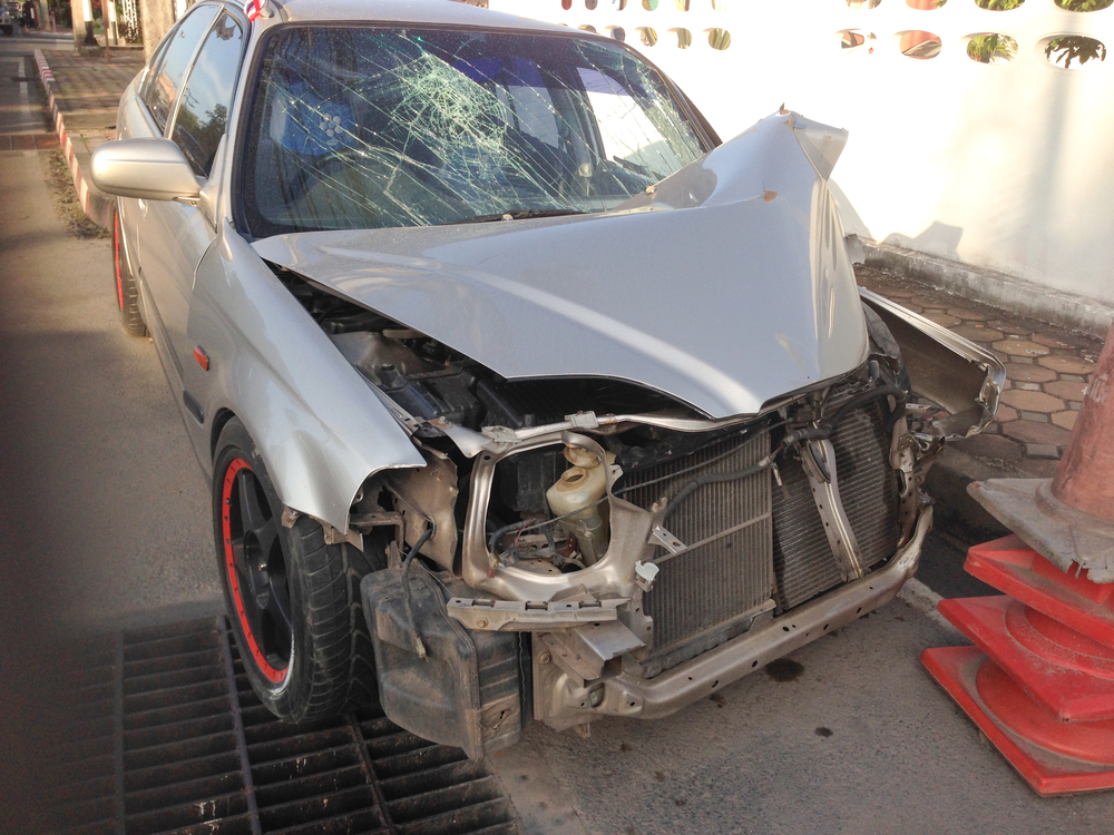 Damage caused by a car crash.